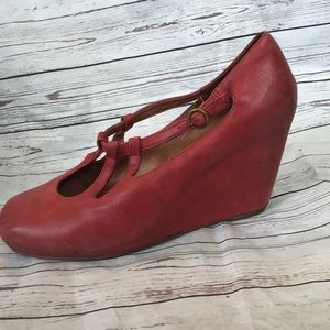 Red retro Jeffery Campbell wedges